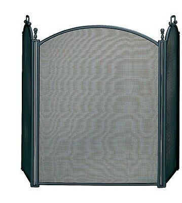 Uniflame® Arched 3-Panel Black Fire Screen with Finials and Handles