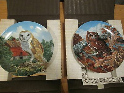 2 X Edwin M Knowles Collectors Plates - Stately Owls Series (No's 3 & 4) Boxed