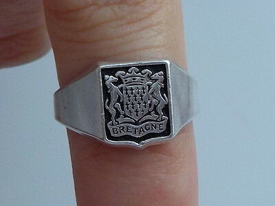 Antique Silver Coat Of Arms Of Brittany Ring Metal Detecting Find