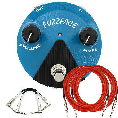 New Dunlop FFM1 Silicon Fuzz Face Mini Distortion Analog Effect Pedal + Cables