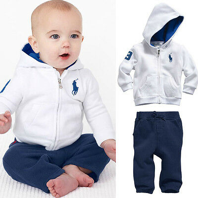 2X Kids Toddler Baby Boys Sportswear Coat Sets Hoody+Pants Outfits Clothes 12-18
