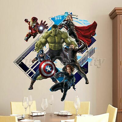 3D The Avengers Super Hero Art Wall Sticker Kids BOY Room Decor Decals Removable