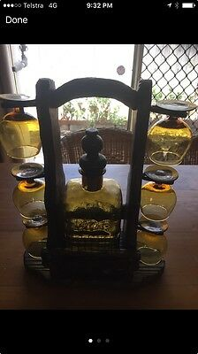 Genie Bottle Decanter And Hand Carved Timber Stand