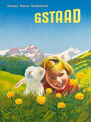 Switzerland Gstaad Little Girl and Lamb Suisse Travel Advertisement Poster