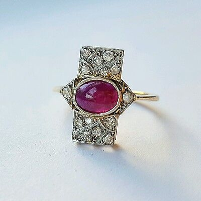 Art Deco Ruby and Diamond 18k Gold and Platinum engagement ring - antique