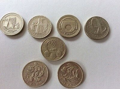 £1 One Pound Coin Collection 7 Coins Circulated