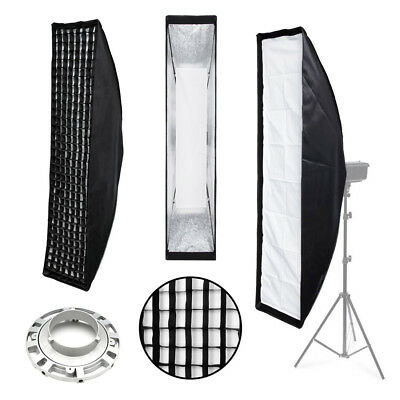 Soft Box & Grid 35x140cm - Bowens Fit for Flash - Pro Studio Stripbox Hair Light