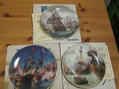 3 X Hamilton Ltd Edition Collectors Plates From The Great British Sea Battles