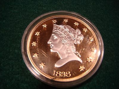 1838 $10 Liberty Head .999 Fine Silver Gold Plated Proof Coin in case