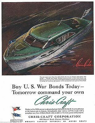 """1943 Chris-Craft Corp Detroit Boats U S Armed Forces Craft Art 10""""x13"""" print Ad"""