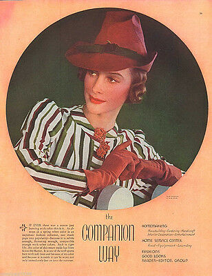 1939 Knox The Hatter Woman Portrait Color Fashion Print Ad 10.5x13.5