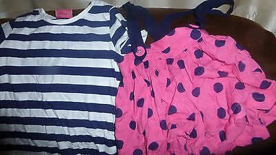 Next girls pink white blue polka stripes culottes braces tshirt outfit 3-4 years