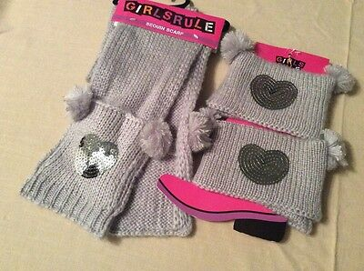 Girls Knitted Sequin Heart Scarf & Boot Toppers Grey