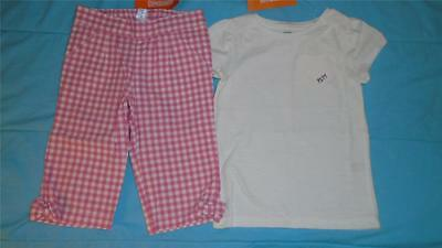 NEW Girls Size 3T Gymboree Outfit Picnic Party Pink White Gingham Pants & Shirt