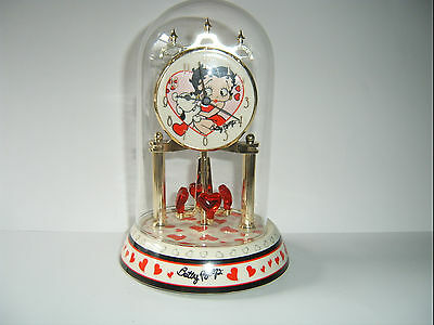 Porcelain Betty Boop Anniversary Clock With Red Hearts