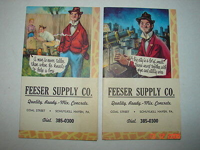 FEESER SUPPLY CO. Schuylkill Haven, Pa - A MAN - A BIG CITY Vintage Note Pads