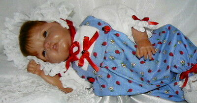 Romper Reborn Baby Blue Lady Bug Victorian  Size 0-3 Month