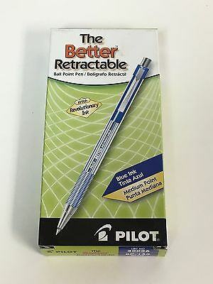 Pilot The Better Retractable Ballpoint Pens, Medium Point, Blue Ink, Dozen Box
