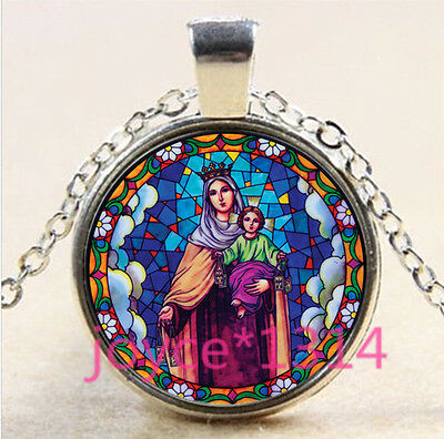 Our Lady of Guadalupe Cabochon silver Glass Chain Pendant Necklace #5044