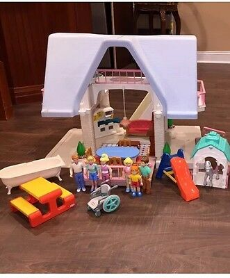 Little Tikes Blue Roof Dollhouse with Family and Furniture And Horse Stable  Toy