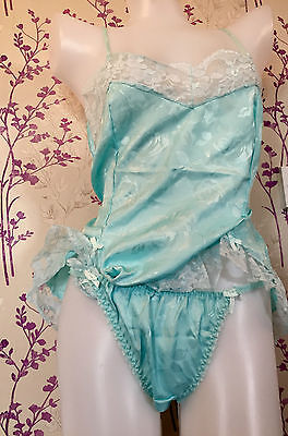 Vintage Satin Embossed Tanga Knickers & Camisole Set Sissy Glamour Lingerie
