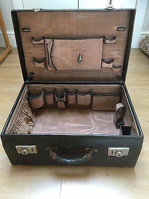 1930's VINTAGE BLACK SUITCASE CASE LUGGAGE FULLY FITTED VANITY COMPARTMENTS