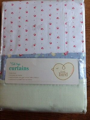 Little Bird By Jools Oliver Tab Top Curtains And Tie Backs 168cm X 183cm..bnip