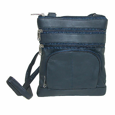 New Leather Impressions Women's Multi Pocket Organizer Crossbody Handbag