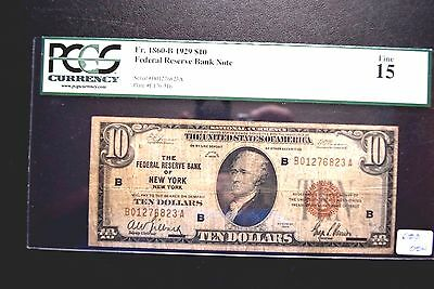 "$10 SERIES 1929 NATIONAL CURRENCY/ NEW YORK "" PMG Fine 15 """