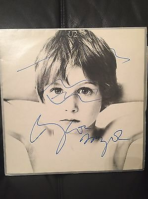 U2 Hand Signed Boy Album Cover Vinyl - With Fly Glasses Added! EXTREMELY RARE