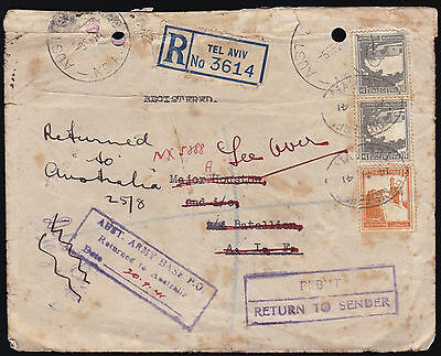 PALESTINE WWII 1941 MUCH TRAVELLED Registered Cover to FPO Australia Returned