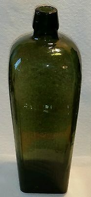 19th C. Cased Blown Glass Olive Green Gin Bottle Applied Lip Marked B on bottom