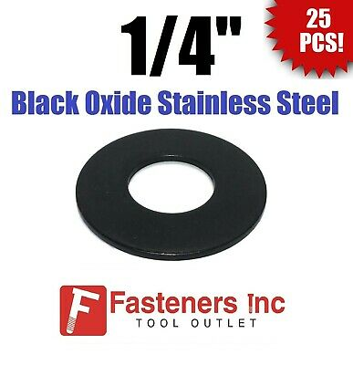 "(Qty 25) 1/4"" Black Oxide Stainless Steel Flat Washer"