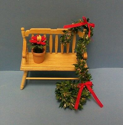 Dollhouse Miniature Holiday spindle bench w/Poinsettias, garland &  bows 1;12