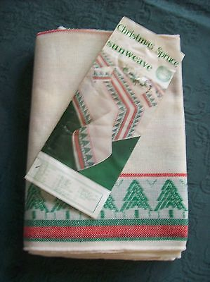 """Vintage Christmas Spruce Tablecloth 52"""" X 70"""" By Sunweave New Old Stock."""