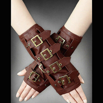 Restyle Brown faux leather steampunk arm warmers with buckles. Goth. Metal. Rock