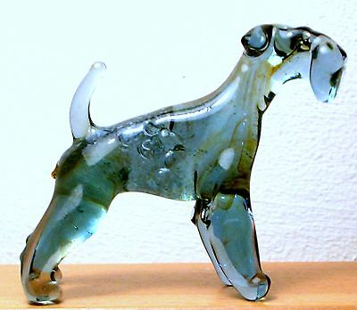 """Hand Blown """"murano"""" Glass Collectable Kerry Blue Terrier Dog  Figurine"""