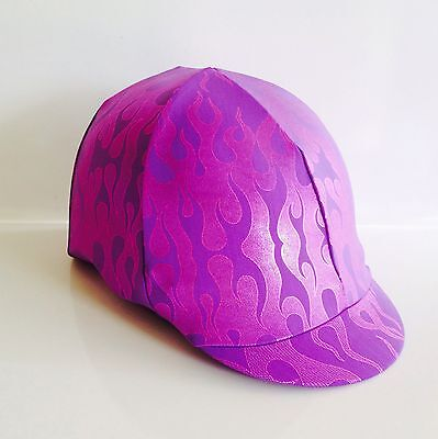 Horse Helmet Cover Purple With Pink Flames Lycra AUSTRALIAN  MADE