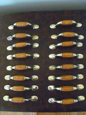 "Set of 16 Vintage Brass Handles W/Medium Oak Inserts 3"" Centers No Screws"