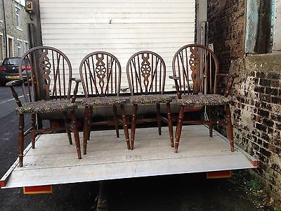 Solid Wood Vintage Wheel Back Chairs Set Of 4