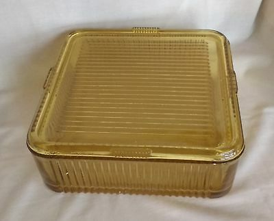 "Federal Glass Amber Refrigerator Dish 8"" Square w lid depression yellow vintage"