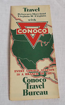 Conch Gas Oil Map 1933 Delaware Maryland Area Service Station Vintage