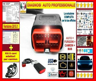 Autodiagnosi Universale Bluetoth + 8 Cavi Camion  Auto Diagnosi Multimarca Obd