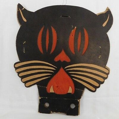 Large Art Deco cat face Tommy Whiskers Lantern Halloween decoration 1938 Beistle