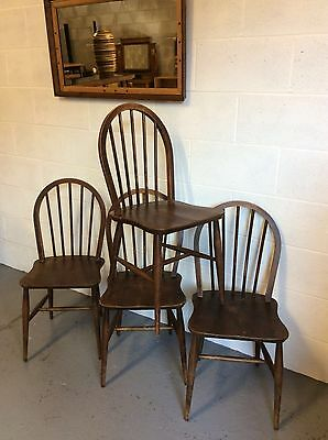 4 x ERCOL Dining Chairs model 4A from 1948 Utility Soild Elm and beech frame