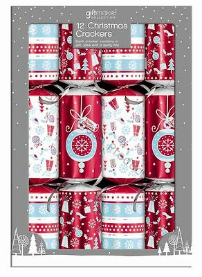 Pack of 12 Christmas Crackers with Festive Party gifts, Joke and party hat