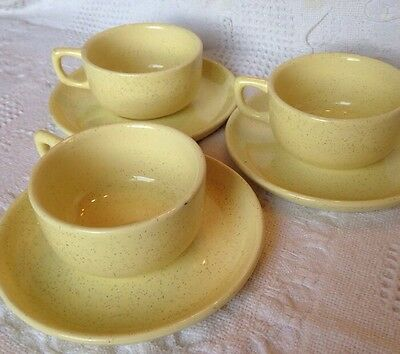 Set Of 3 Bauer  California Pottery  Cups And Saucers Al Fresco Yellow