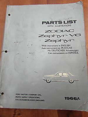 Original Ford Zodiac Zephyr V6 Parts List 1967 - English/French/German/Spanish