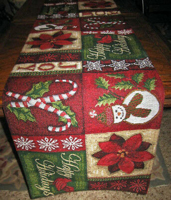 """Red Poinsettia & Snowman Patchwork Tapestry Christmas Decor Table Runner 72""""x13"""""""