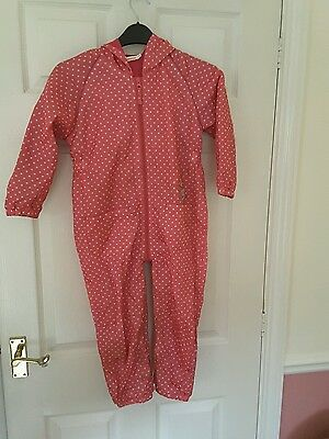 Pink and white spotted polka dot rain suit waterproof overall girls 4-5 years
